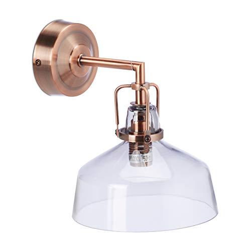 Relaxdays Wandlampe, Industrial, Metall & getöntes Glas, E14-Fassung, Vintage Wandleuchte HxBxT: 21x17,5x22 cm, Kupfer, 1 Stück