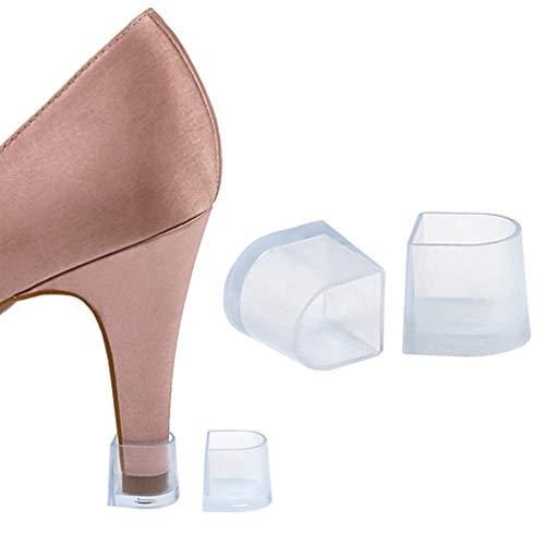 HEALLILY protectores transparentes de tacón alto tapones tapas de reparación cubiertas para mujeres perfectas para bodas razas talla m blanco 5 pares