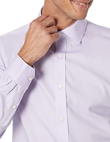 Amazon Brand - Buttoned Down Men's Tailored Fit Spread Collar Solid Non-Iron Dress Shirt Purple 15.5' Neck 31' Sleeve