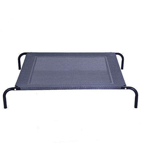 Giantex Elevated Pet Bed for Medium Large Dogs, Keep Pets Cool, Portable Raised Pet Cot Indoor Outdoor Camping, Waterproof Breathable Mat Steel Frame, Easy Assembly (Large)