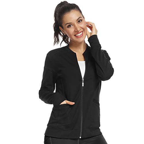JEYONG Women's Zip Front Warm-Up Jacket Black
