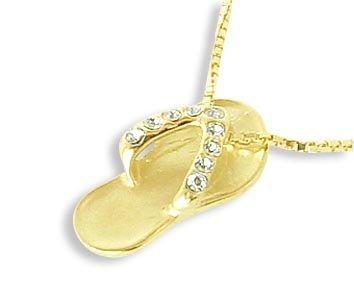 Flip Flops Charms Ketten-Anhänger echt 14 Karat Gold 585 mit Zirkonia (Art.212198)