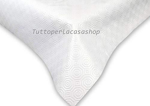 Tuttoperlacasashop Mollettone Bianco copritavolo ceratagommato Altezza cm 140 cm 140x300