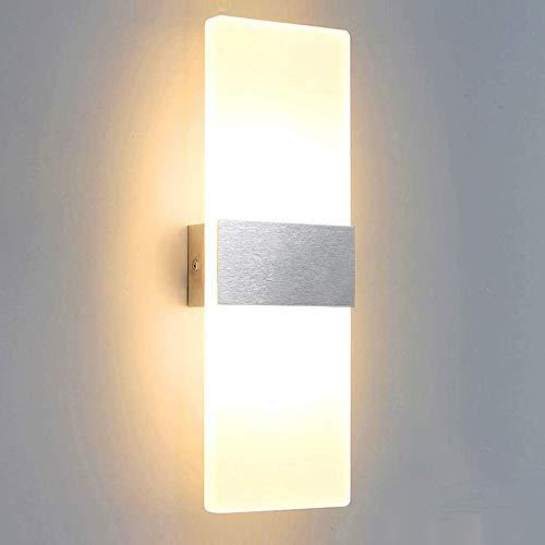 VINGO 12W Wandleuchte, LED Wandbeleuchtung Warmweiß, Modern Aluminium Wandlampe für Innen Beleuchtung, wohnzimmer schlafzimmer