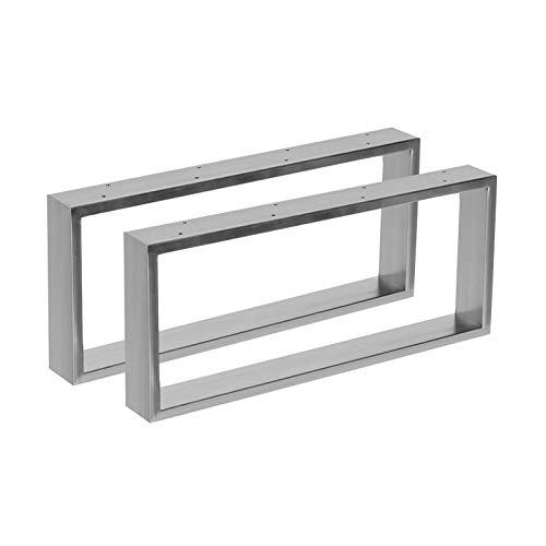 2x Tischgestell aus Edelstahl in 2 Oberflächen Hochglanz & gebürstet in 10 Varianten zur Auswahl (70x30cm, Gebürstet)
