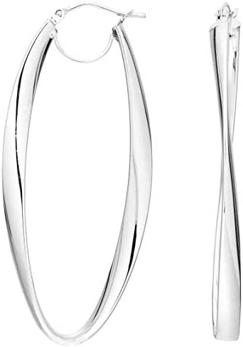 Royal Jewelz 14K White Gold Long Twisted Oval Hoop Earrings with Hinged Closure.