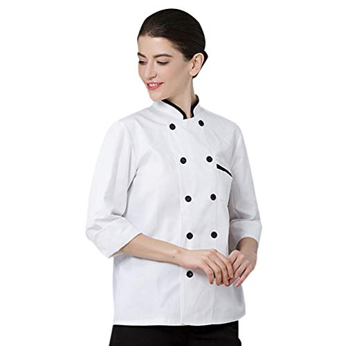 Dooxii Unisex Donna Uomo Autunno Manica Lunga Giacca da Chef Professionale Torta di Cottura Hotel Mensa Uniformi Divise da Cuoco