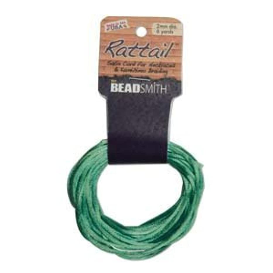 2mm Satin Rattail Braiding Cord Emerald 6 Yards For Kumihimo and Craft