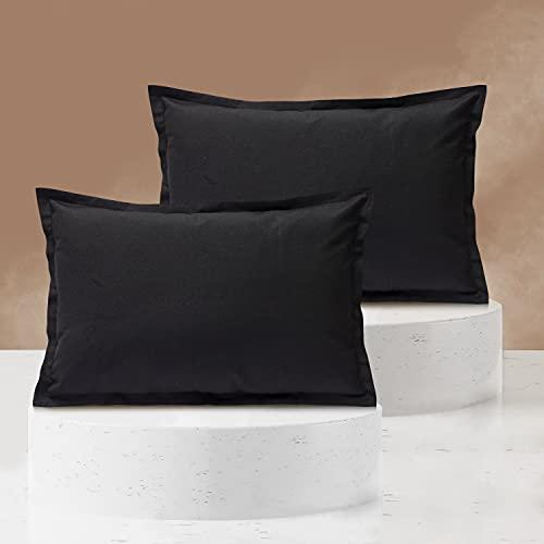 Viste tu hogar Pack 2 Fundas de Cojin 40x60 cm, Algodón y Poliéster, para Decoración de Hogar en Color Negro Liso.
