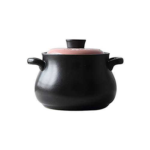 Céramique Cocotte avec Lid Et Poignées,Motif Floral Pot De Pierre,température élevée Pot De Soupe,Ouvrez Le Feu Cocotte,ustensiles Noir & Rose 4.5l