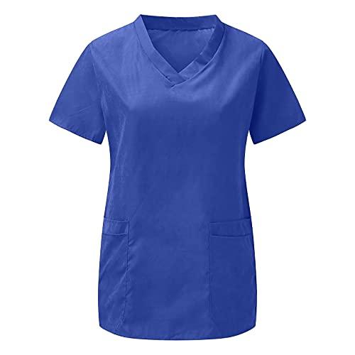 Briskorry Casaca de mujer de un solo color, cuello en V, manga corta, para hospital, ropa de trabajo, uniforme de enfermera, marine, S