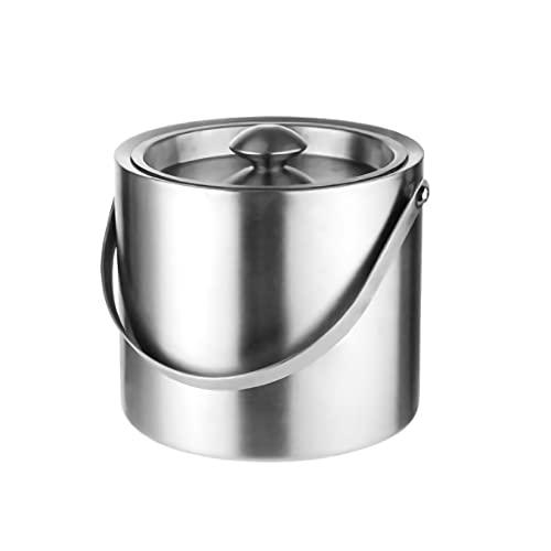 アイスペールステンレス アイスバケット 二重構造 真空断熱,ハンドルとフタ付き2L/3L 大容量円筒形銀(金) (シルバー, 3L)