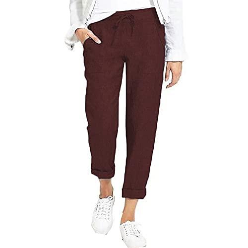 WAEKQIANG Pantalones De Lino De AlgodóN Pantalones De CháNdal Sueltos Suaves para Mujer Pantalones Largos De Tobillo Ajustados Y Transpirables