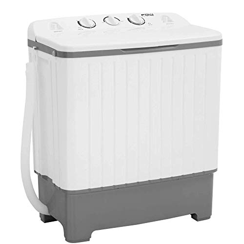 Portable Washing Machine, Twin Tub Washer and Dryer Combo, 17Lbs Capacity (10Lbs Washing and 7Lbs Spinning), Compact Mini Laundry Washer for Apartment Home Semi-Automatic, with Inlet and Drain Hose