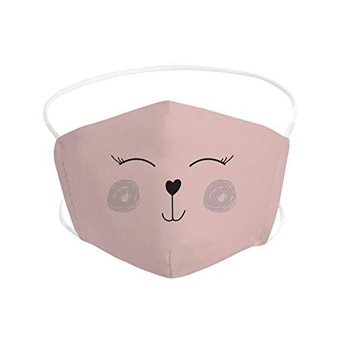 Pekebaby Mascarilla Infantil de tela lavable reutilizable 2 capas + bolsillo con 1 filtro incluido, diseño 001 HEART ROSA, doble ajuste elástico