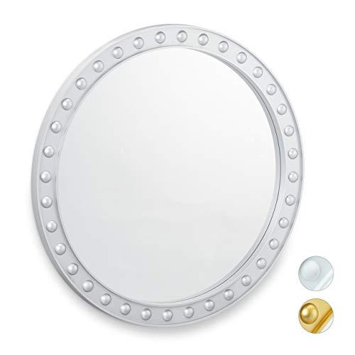 Relaxdays wandspiegel rond, decoratieve spiegel om op te hangen, hal, woonkamer, badkamer & WC, modern, diameter 50,5 cm, met lijst, zilver