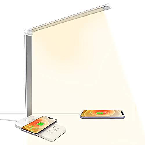 ACADGQ Lámpara Escritorio LED con Carga Inalámbrica, Flexo de Escritorio Cuidado de ojos, Lámpara de Mesa USB 5 Modos 10 Niveles de Brillo, Luz Escritorio Control Táctil para Leer, Estudiar, Oficina