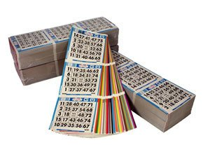 United Novelty 3 on 6 up Bingo Color Collated Paper Game Cards- 100 Books- Six
