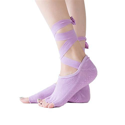 Witou Mujeres Yoga sin Espalda Cinco Dedo delito Antideslizante Tobillo Grip Socks Dots Pilates Fitness Gimnass Calcetines Damas Sports Correa Calcetines de algodón, Comodidad y Ocio (Color : 07)