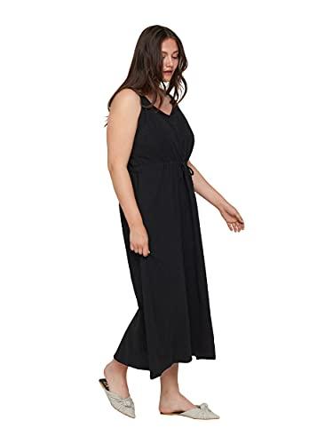 Zizzi Große Größen Damen Maxikleid aus Baumwolle mit Smock Gr 50-52 Schwarz