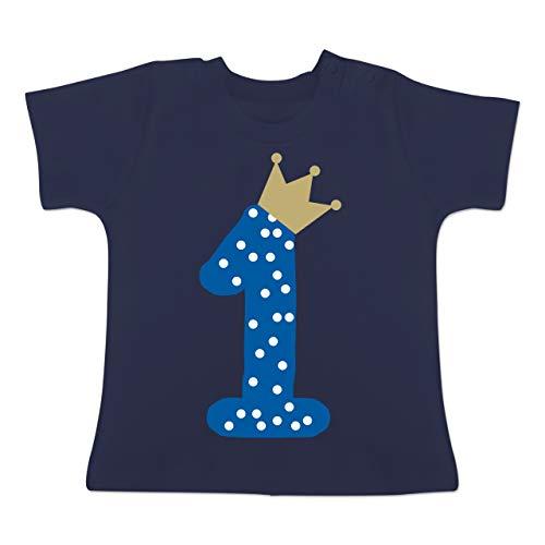 Geburtstag Baby - 1. Geburtstag Krone Junge Erster - 12/18 Monate - Navy Blau - 1 Geburtstags Tshirt Junge - BZ02 - Baby T-Shirt Kurzarm