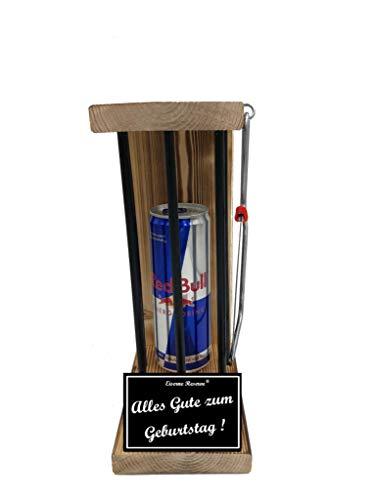 * Alles Gute zum Geburtstag - Eiserne Reserve ® Black Edition Red Bull 0,473L incl. Säge zum zersägen der Stäbe - Die lustige Geschenkidee