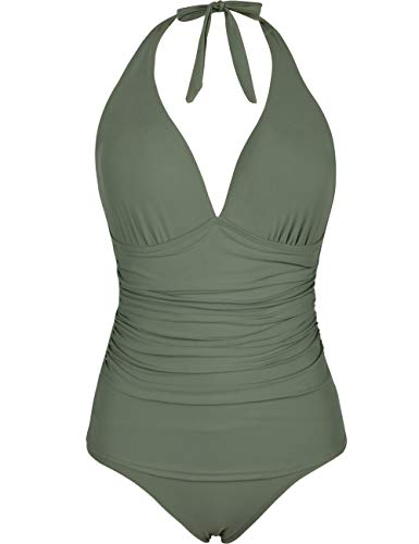 Hilor Women's Halter One Piece Swimsuits Shirred Tummy Control Swimwear Skirted Bathing Suits Monokinis Army Green 16