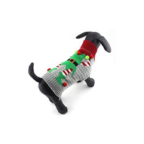 Dr.JIEER Vestiti di Maglieria Invernale per Cani e Gatti Cuccioli di Maglia di Renna di Natale - Taglia XL (Gray Elf)