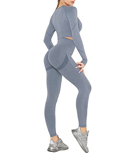 DUROFIT Conjuntos Deportivos para Mujer Leggins y Crop Top Deporte Sport Set Conjunto de Ropa Deportiva Legging Mallas de Yoga Fitness Cintura Alta Camiseta de Manga Larga Push Up Leggins Azul M