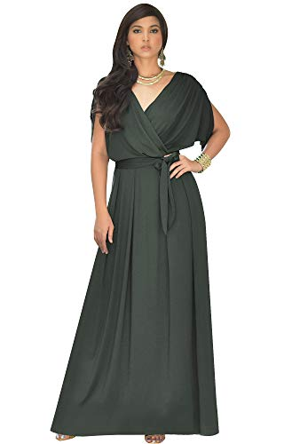 KOH KOH Plus Size Womens Long Formal Short Sleeve Cocktail Flowy V-Neck Casual Bridesmaid Wedding Party Guest Evening Cute Maternity Work Gown Gowns Maxi Dress Dresses, Olive Green XL 14-16