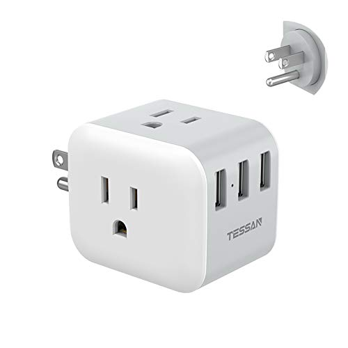 Multi Plug Outlet Extender with 3 USB Charger, TESSAN Power Charging Cube Expander for Wall Outlet Box, Multiple Electrical Outlet Splitter for Home, Office, Dorm Essentials