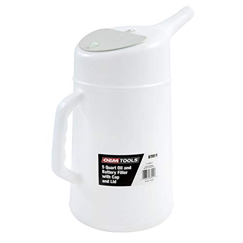OEM TOOLS 87011 5 Quart Translucent Oil Dispenser | Oil, Coolant, Transmission Fluid Changing Tool | Holds 5 Quarts | Flexible Spout Makes It Easy & Tidy to Fill Your Car with Oil or Other Fluid