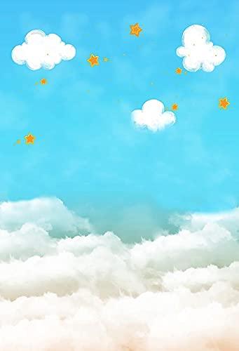 Fondo de fotografía Cielo Azul Nubes Blancas recién Nacido Baby Shower niños Retrato Fiesta Estudio fotográfico A7 7x5ft / 2,1x1,5 m