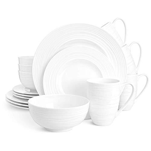 Divitis INFINITY Bone China Dinnerware Set 16pcs (Soup Bowls, Dinner Plates, Salad Plates, Mugs), Plates and Bowls Sets, Dishes Dinnerware Sets, Dinnerware Set, White Plates