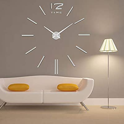Imoerjia Living Room Wall Clock Acrylic Stylish Living Room DIY Wall Clock Clock Surface, Silver