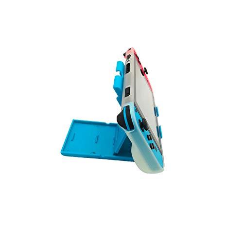 Soporte para Nintendo Switch ,Compatible con hasta 16 Juegos de Switch Organizador de Tarjeta de Juego Contenedor de Viaje,Protector de Pantalla ,Grip Set Joystick Cap Analog Stick Cap(5in1) (Azul)