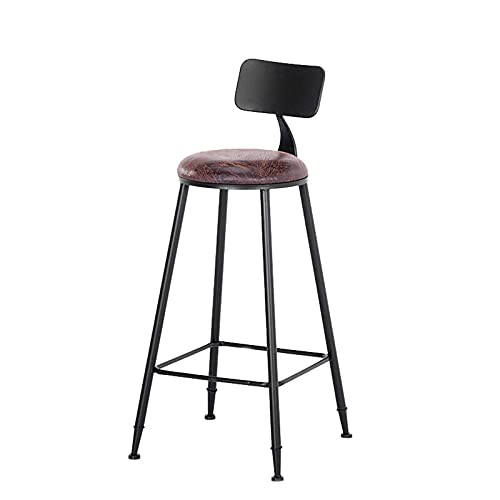 DUTUI Simple Bar Metal High Bar Chair Industrial Bar Stool-Retro Swivel Stools-Extra Tall Kitchen Chair Fully Welded,Style B