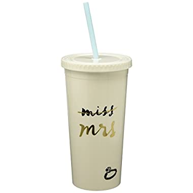 Kate Spade New York 175442 Miss To Mrs. Insulated Tumbler, White