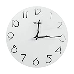 OURISE 12 Inch Vintage Round Wooden Wall Clock,Silent & Non-Ticking Home Decorative Wall Clock,Easy to Read Home/Office/Classroom/School Rustic Clock,Battery Operated (01)