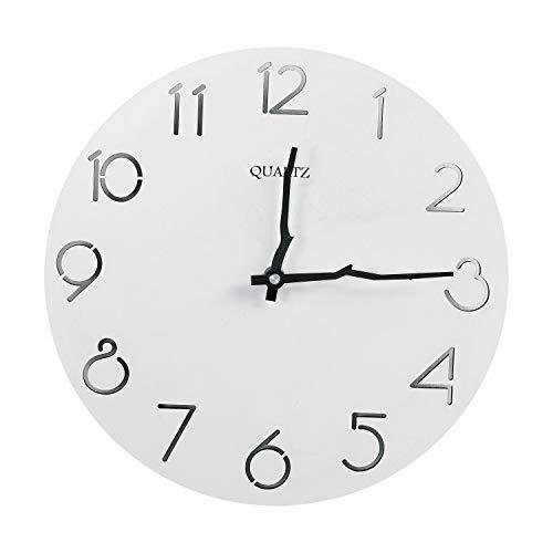 Reloj de Pared de Madera, 30cm Reloj Pared Grande, Relojes de Pared Vintage de Silencioso Decoración Pared para Cocina, Salon, Oficina, Dormitorio, Oficina, Funciona con Pilas, Regalos para La Casa