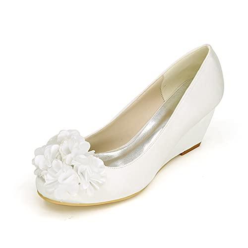 Zapatos De Boda De Punta Cerrada De Satén Zapatos De Cuña De...