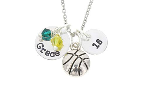 Personalized Basketball Necklace - Custom Name, Number, Team Colors - Handstamped 3/8 1/2 Inch Discs - Player Coach Gift - DII ABC