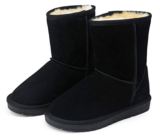 VEPOSE Women's Snow Boots Warm Suede Mid Calf Booties Classic Winter Knee High Shoes