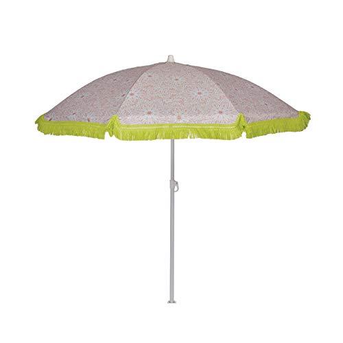 EZPELETA Sombrilla de Playa. Parasol de Playa. Ligero y Plegable de Acero. Paraguas Sol. Protección Solar UPF 50+. Diámetro 150cm. Estampado Flores/Cuadros/Rayas. Incluye Funda/Bolsa. - Flores-Coral