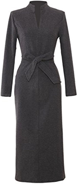 XIURONG Solid Skirt Collar Long Sleeved Dress Slim Skirt
