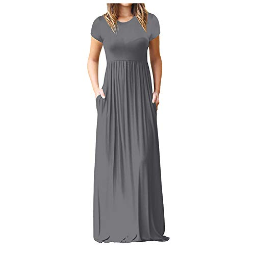Dresses for Women, SHOBDW Female Sleeveless Print O-Neck Maxi Dress Summer Party Cami Dress with Pockets Floral Print Long Dresses for Women Boho Maxi Dresses(Gray,L)