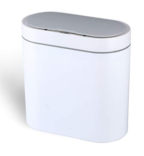 ELPHECO 2.5 Gallon Waterproof Motion Sensor Small Bathroom Trash Can with Lid and Odor Filter, Slim Plastic Narrow Kitchen Garbage Can Touchless Trash Can, White