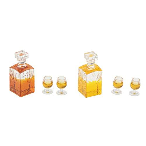 Uniquk 1:12 Escala Dollhouse Miniatura Accesorios Whisky Wine Bottle Bar Modelo