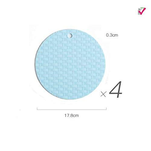 Tischsets 4 Stück Runde Silikon Isolierkissen Topfmatte Nordic Anti-Verbrühungsschüssel Matte Gewebte Tischmatte Home Coaster Gemüsematte,Blue