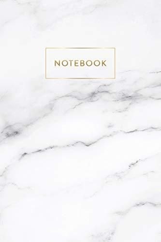 Notebook: Soft White Marble - Notizbuch in moderner Marmor Optik | ca. DIN A5 (6x9\'\'), kariert, 108 Seiten, Weißer Marmor mit Gold | für Notizen, ... Organizer, Kalender, Semesterplaner, Journal